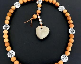 Eye of the Cailleach Celtic Soul Prayer Beads with Cedar Beads. Hagstone, Hag Eye