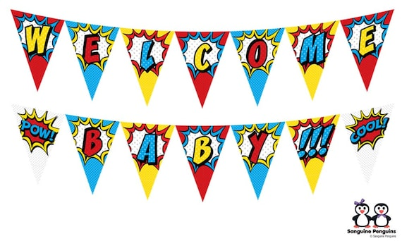 graphic relating to Welcome Banner Printable named Superhero-Themed \