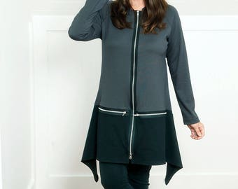 Small to 1X Grey and Black Color Block Jacket / Top with handkerchief hem.