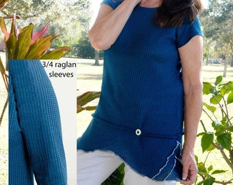 Small - XL teal blue thermal top with round white button
