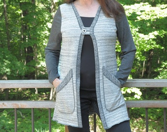 Small - XL Grey and White Cotton Cardigan with button