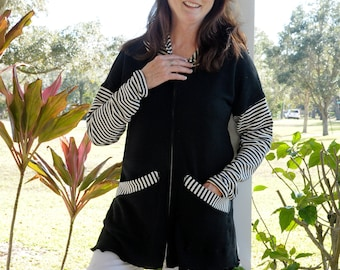 Small - XL Black french Terry jacket with black/navy and white stripes sleeves and hood