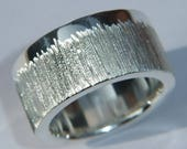 Chunky Handmade 925 Sterling Silver Ring with a Shimmery Etch Design and Personalised Band Edge