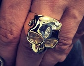 Mens Handmade Solid 9ct Yellow Gold and Marquise Diamond Skull Ring