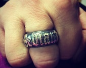 """Mens Hand Made 925 Sterling Silver """" Deviant """" Barrell Ring with Old English Text and Dogstone Jackal Head"""