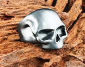 Mens Solid 925 Sterling Silver Black Mask Dogstone Chunky Skull Ring with Full Antiqued Murdered Out Finish