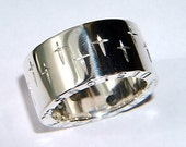 Handmade Chunky Sterling Silver Ring with Cross Design and Personalised Message on Band