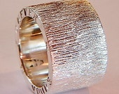 Hand Made Chunky 925 Sterling Silver Ring with a Sparkly Etch Design which can be Personalised on the Band