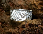 Hand Made 925 Sterling Silver Chunky Ring with a Tree Bark Design Carved into the Band