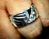 Mens Hand Made 925 Sterling Silver Chunky Fallen Angel Ring with a Carved Angel Wing on the Band