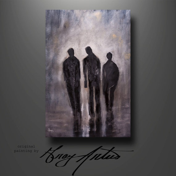 Urban Art People Humans Walking Art Contemporary Art Modern Urban Giclee Print Of The Original Painting On Stretched Canvas