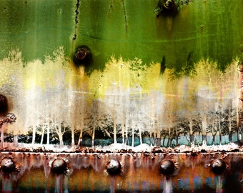 INDUSTRIAL Wall ART * Canvas Original Tree Landscape * Digital Art Photography on Stretched Canvas SIgned * Ships Free to UsA