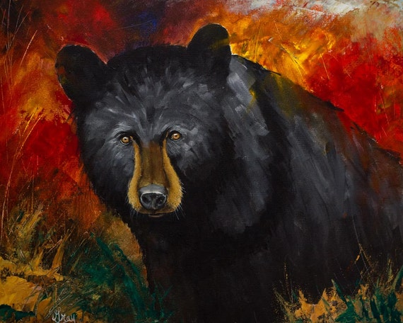 BLACK BEAR ART Giclee on Canvas Rustic Modern Bear Wall | Etsy