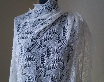 Кnit Shawl White Wedding Shawl Lace  Wrap Shawl Knitted Shawl white Knitted Stola White Bridal châle mariée Ivory Wedding shawl
