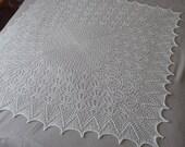 Hand knitted ecru square lace baby blanket, Baptsim shawl, Christening baby blanket, Heirloom, New born afghan, Wedding shawl, Free shipping