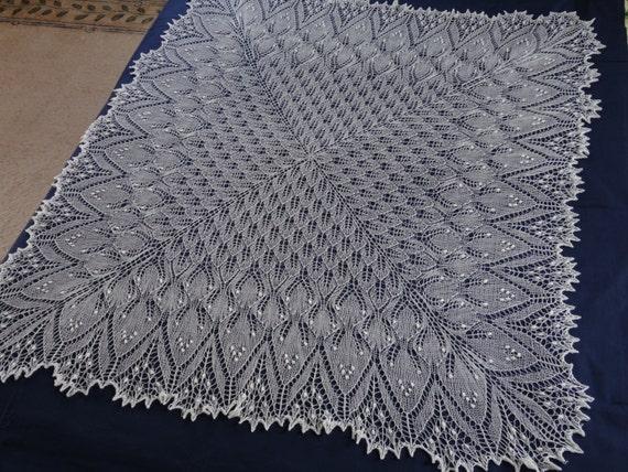 Free Shipping Knitted Lace Shawl White Wedding Shawl Lace Etsy