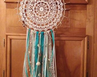 Hand crocheted doily dreamcatcher