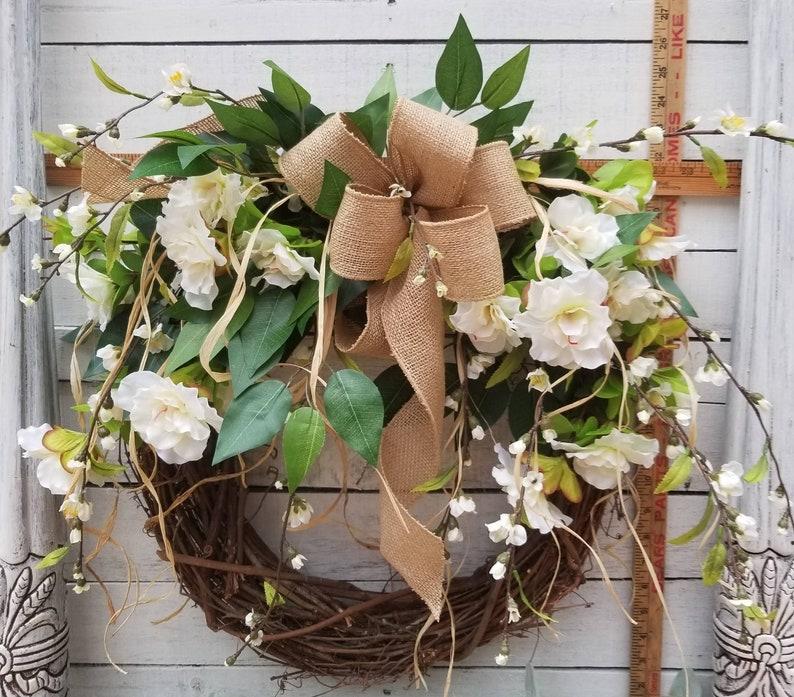 Greenery Wreath for All Year Round Burlap Wreath Green Wreath Beautiful Azalea Front Door Wreath Door Wreath farmhouse wedding wreath
