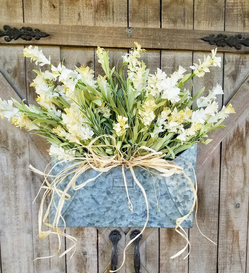 Cream Wildflower Door Hanger Farmhouse Door Hanger
