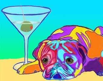 BOSTON TERRIER in Martini Glass Black Dog art PRINT of Original Painting by VERN