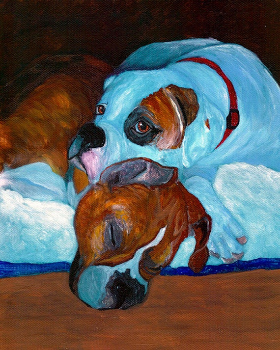12x16 BUSTED BOXERS Dog Art PRINT of Painting by VERN
