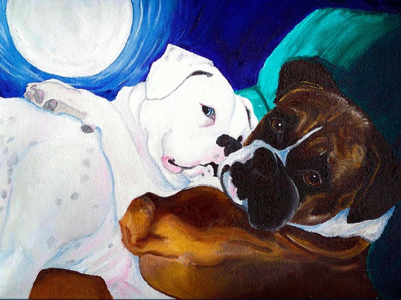 13x19 BOXER Fawn /& White Dog Art PRINT of Painting VERN
