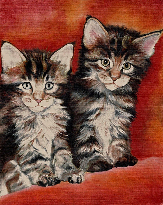 SLEEPING TABBY Cat Kitten Art Print of Painting by VERN
