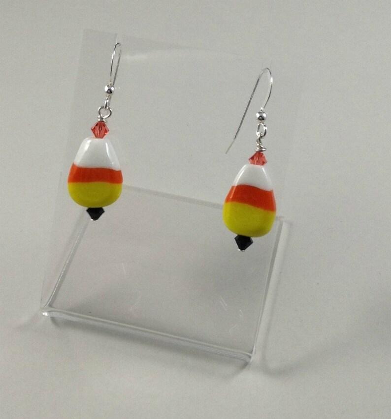 1a033620c HALLOWEEN CANDY CORN Earrings Glass Halloween Earrings Drop | Etsy