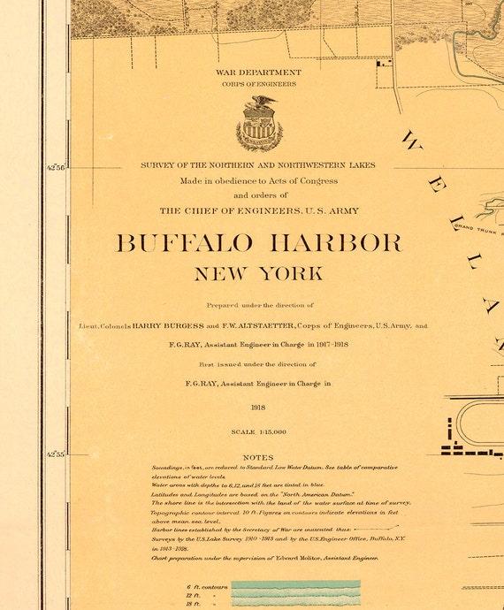 Carta náutica de 1918 de Buffalo Harbor   Etsy
