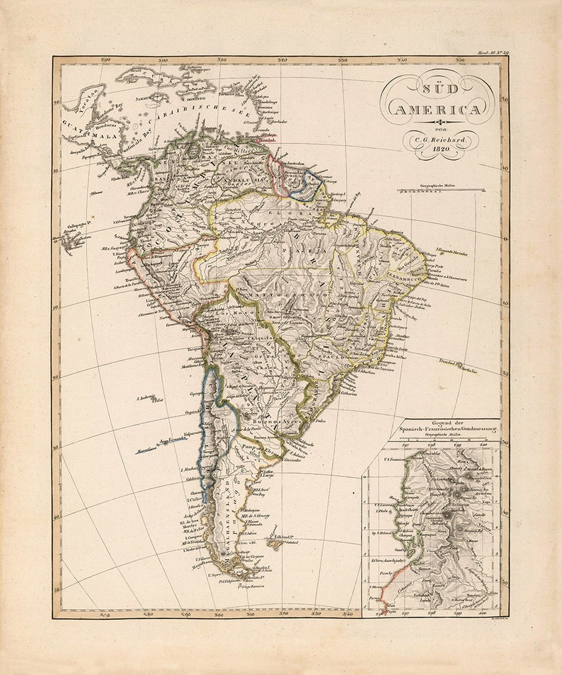 Map Of America 1820.1820 Map Of South America Etsy