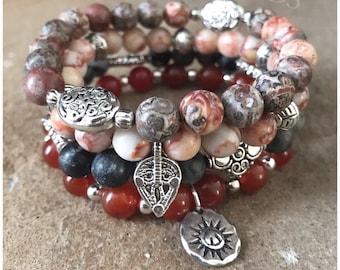 Gemstone Bracelets-Beaded-Bracelet Set-Stretch-Bohemian Jewelry-Tibetan-Eclectic-mSs Designs-Boho Chic-Earthtones-Zen
