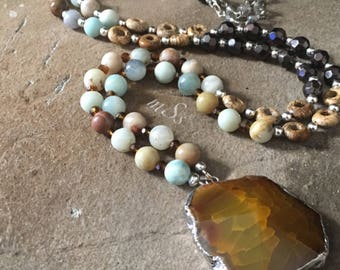 """Brown Agate Pendant Necklace-Earth Tones-40"""" Long-Amazonite and Jasper-Boho Fashion-Silver Accents-Bohemian-Chic Beaded Jewelry-mSs-Gemstone"""