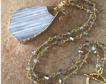 "Gray Striped Agate Pendant Necklace-18"" Long on Smokey Gray Glass Beaded Silver Chain-Boho Chic-Toggle-Handmade Jewelry-mSs-Gold Accents"