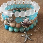 Gemstone Bracelets-Beaded-Bracelet Set-Stretch-Bohemian Jewelry-Tibetan-Eclectic-mSs Designs-Blue and White Beach Glass-Matte Agate-mSs