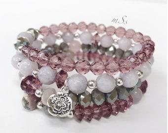 Gemstone Bracelet Set of Four-Pink-Silver-Gray-Glam Stack-Stretch-Bracelets-mSs-Gemstone Beads-Glass and Jade-Bead Jewelry-Boho Chic