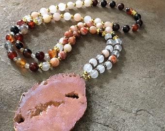 "Druzy Slice Stone Pendant Necklace-31"" Long-Boho Chic-Bohemian Jewelry-Quartz-Jasper-Agate-mSs-Gemstone Jewelry-Handmade"