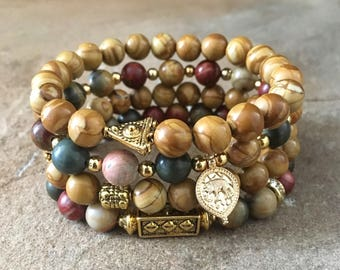 Gemstone Bracelets-Beaded-Bracelet Set-Stretch-Bohemian Jewelry-Tibetan-Eclectic-mSs Designs-Boho Chic-Picasso Jasper-Brown-Gold Accents