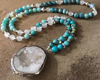 """White Druzy Gemstone Necklace, 30"""" Long, Beads, Blue, Quartz, Jasper, Jade, BohoChic, Hippie Style, Silver Accents,mSs Designs"""