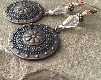 "Boho Chic Medallion Earrings, Gemstone, Jasper, Crystal, 3"" Long, Pierced, Antique Copper, Boho Style, Bohemian, Hippie Chic"