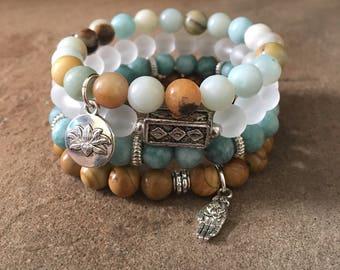 Zen Gemstone Bracelets-Beaded-Bracelet Set-Stretch-Bohemian Jewelry-Tibetan-Eclectic-mSs Designs-Yoga-Jasper-Jade-Amazonite-Lotus Flower