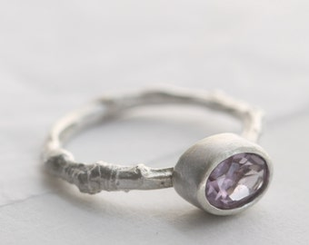 Silver twig ring, twig engagement ring, cherry tree ring, nature ring, nature jewellery, woodland jewellery