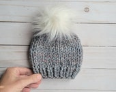SALE Newborn Chunky Knit Beanie, Chunky Knit Hat, Hand Knitted Toque, Beanie with Faux Fur Pom Pom, Gray Multicolor, Newborn Size