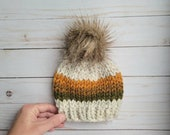 Newborn Chunky Knit Beanie, Knit Hat, Hand Knitted Toque, Beanie with Faux Fur Pom Pom, Newborn Size, Wheat Wheat, Orange, Brown, Green