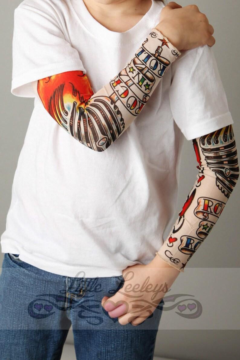 Tatuaż Sleeve Rock And Roll Biała Koszula Dla Chłopców I Dziewcząt