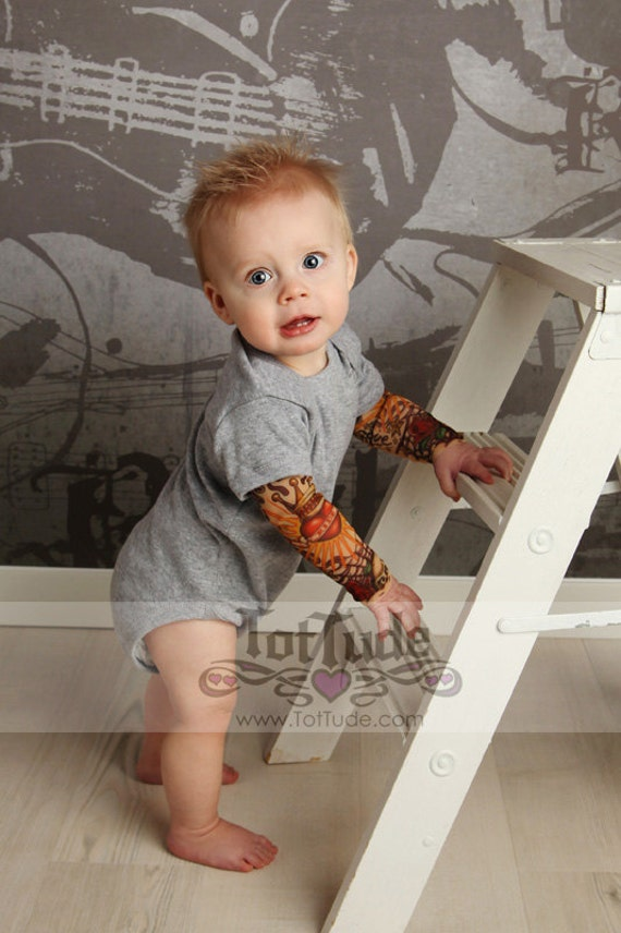 Biker Tats Black Tattoo Sleeve Baby Toddler Kids Tee Shirt Cute Cool Rockabilly