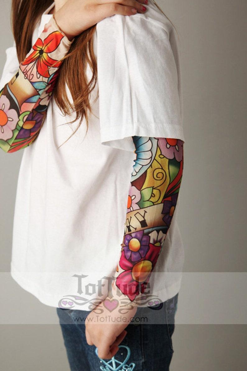 Tatuaż Rękawa Kwiat Ptak Biała Koszula Dla Dziewczyn