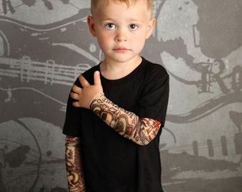 Kids Tattoo Sleeve Shirt - Toddler Tattoo Sleeve Shirt - Tattoo Sleeves - Punk - Rock and Roll - Baby Tattoo Sleeves - Temporary Tattoo