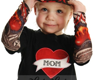 Tattoo Sleeve T shirt with Mom or Dad heart applique for Baby and Toddler