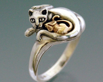 Cat and Mouse Ring Bi-metal - with Bronze Mouse