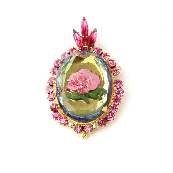 Gold tone Reverse Painted Rose Brooch Vintage Intaglio Brooch